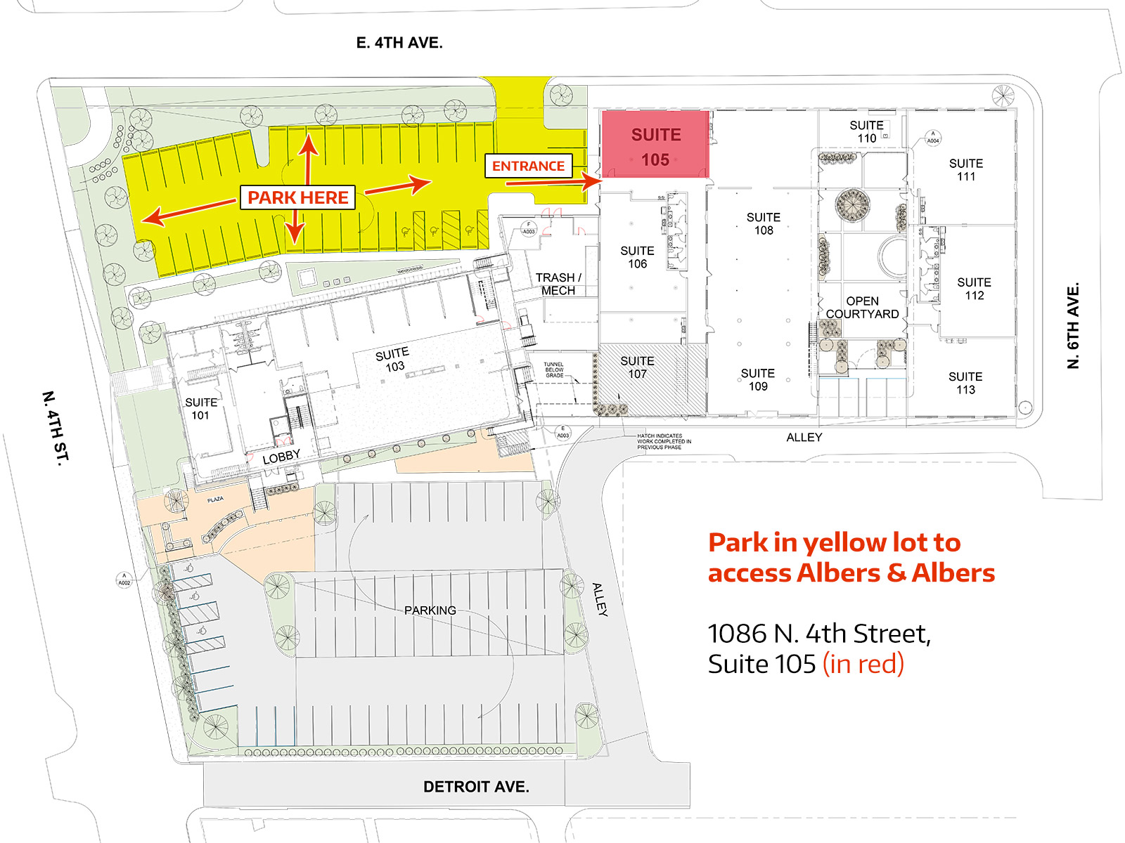 Albers & Albers Location and Parking Map